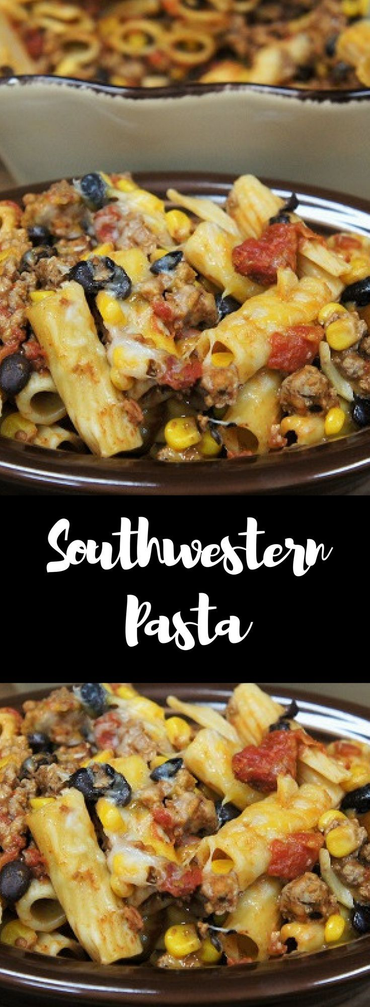 If you're looking for a quick, satisfying meal that will feed a crowd, try this Southwestern Pasta. Rigatoni pasta is combined with ground turkey that's been seasoned with southwestern-inspired spices and simmered with tomatoes, black beans and corn. Then it's all topped with cheese and baked until perfectly melted. Super flavorful and delicious!