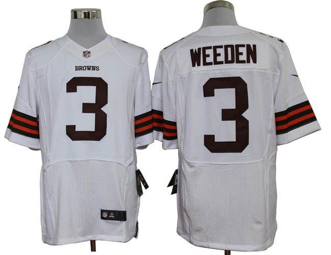 Cleveland Browns 3 Brandon Weeden Elite White NFL Jersey