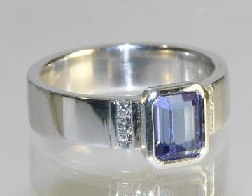 18ct white gold engagement ring with emerald cut Tanzanite ~ Harriet Kelsall Jewellery Design: Engagement Ring
