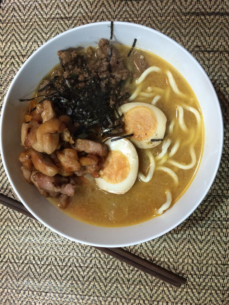 Miso Ramen with Ramen Eggs. Eggs: 1) Mix 2 tbs soy sauce, 2 tbs mirin & 6 tbs water 2) Boil 2 eggs for 6 mins, shell and cool 3) Put eggs into soy sauce mixture in a zip lock bag and leave in fridge to marinate overnight. Miso soup paste: 1) Brown 100g minced pork in 2 tsp sesame oil with minced garlic & ginger 2) Add 2 tbs miso paste, 1tbs bean paste, 1 tbs sesame seed ( pounded), 1 tbs sugar 3) Add 3 cups chicken stock, salt/pepper to taste 4) Serve with fresh ramen, vege, meat of your…