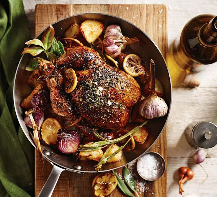 Herbed Roast Chicken with Lemon, Garlic and Red Onions @williamssonoma