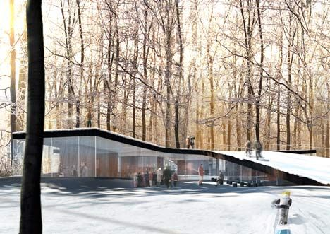 This visitor centre by Danish architects EFFEKT will have a series of ramped green roofs and sit at the heart of the Hareskoven forest in Copenhagen.
