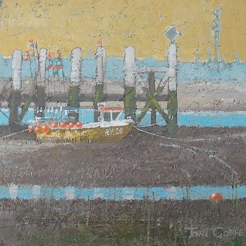 Toni Goffe - RYE HARBOUR - 44 x 44 cms - acrylic on board - framed
