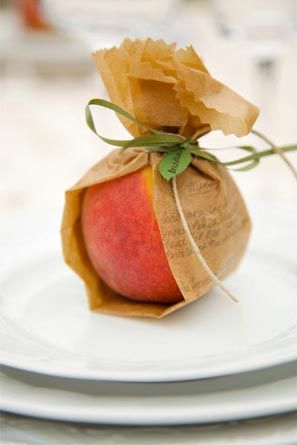 peach as party favor or name/place holder DIY wedding planner with ideas and tips including DIY wedding decor and flowers. Everything a DIY bride needs to have a fabulous wedding on a budget! #diyweddingplanning #diy #wedding #diyweddingplanner