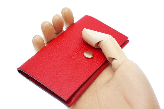 Personalised Womens minimal red cowhide leather by Kokoroleather