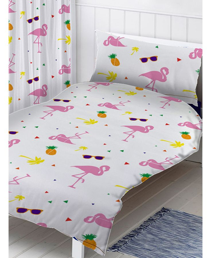 The Flamingos Single Duvet Cover and Pillowcase Set features a collection of flamingos, palm trees and pineapples on a white background. Free UK delivery available