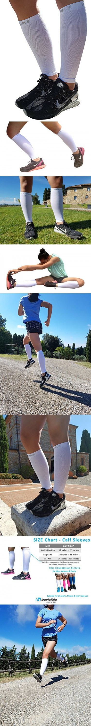 Calf Compression Sleeve - BeVisible Sports Shin Splint Leg Compression Socks for Men & Women - Great For Running, Cycling, Air Travel, Support, Circulation & Recovery - 1 Pair (White, XL-XXL)