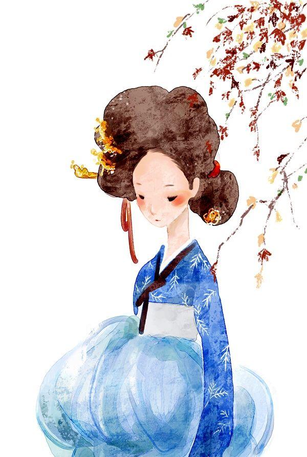 Hanbok #art #illustration #fashion #korean #korea #watercolor #blue