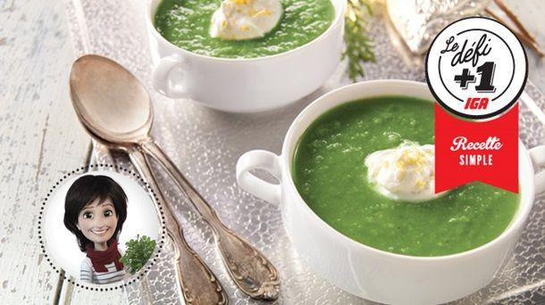Potage aux petits pois et au gingembre de Josée di Stasio #IGA #Recettes #Potage #Soupe