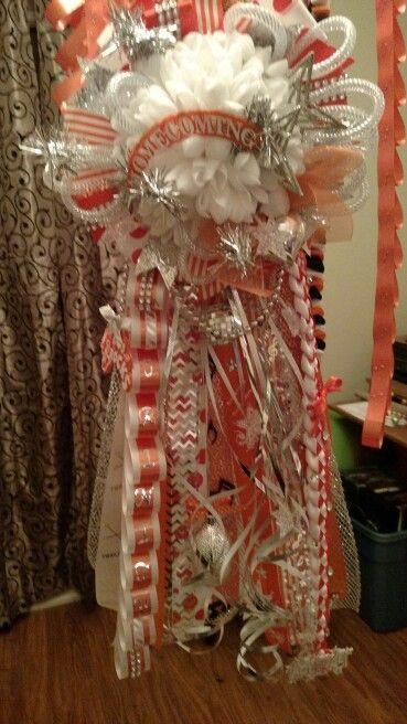 Orange & white homecoming mum. Band/ twirler mum.