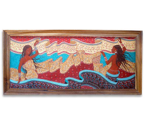 Pintura Original Saree Estilo Tradicional Miniatura por laxisca