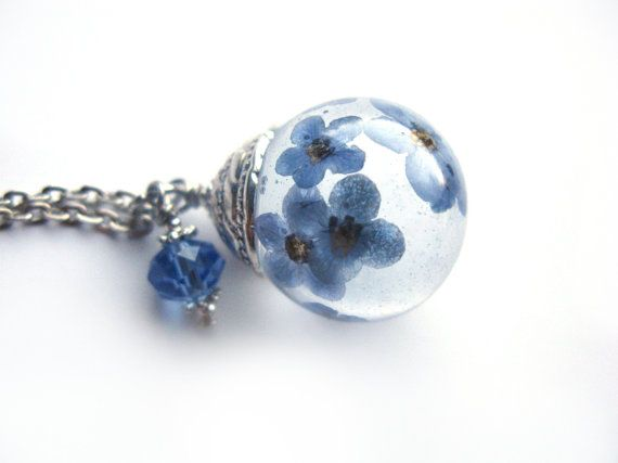 Beautiful Forget me Not Resin Pendant Necklace Sphere  - Flowers encased in resin orb,