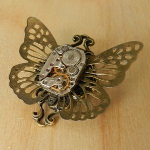 Image of Gorgeous Steampunk Butterfly Clockwork Brooch