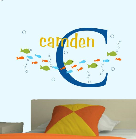 Baby Boy Wall Decal Name Nursery Decals Fish Set Decals