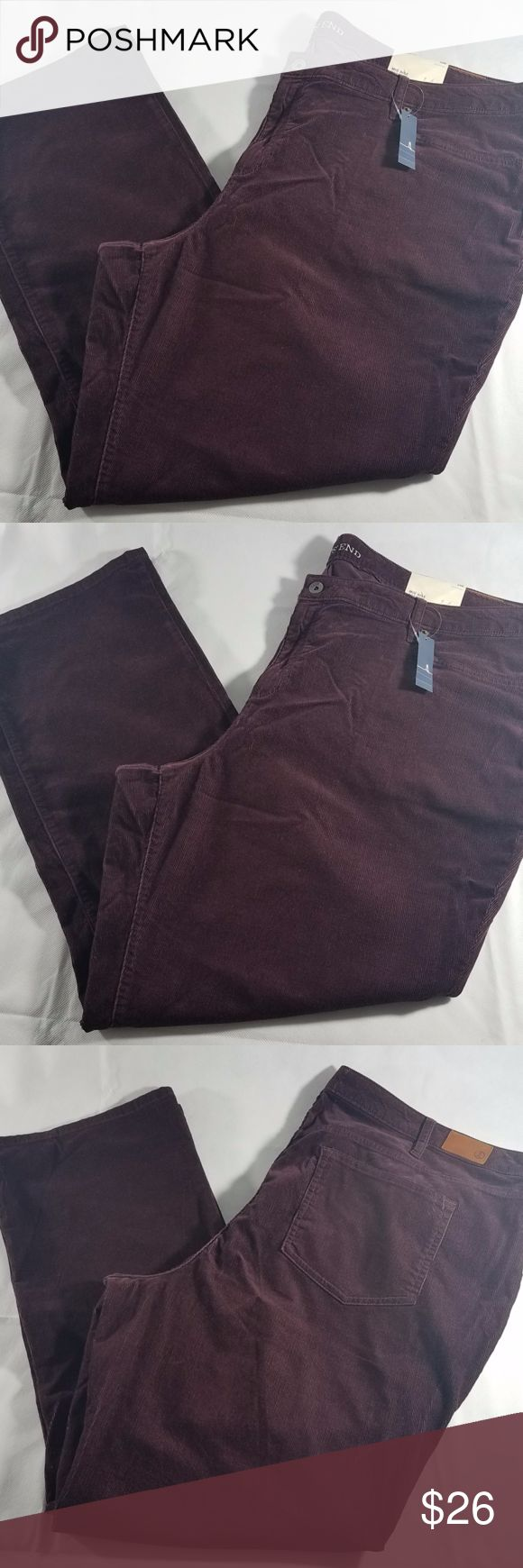 """Women's Land's Mid rise Corduroy 24W Description: Five pockets Corduroy Mid rise and a boot cut pants. Sits just below waist straight fit through hip & thigh bootcut leg opening Brand: Land's End Size: 24W Color: Age Wine Measurements: Waist 46"""" Inseam 30"""" Rise: 13""""  Hip 25.5"""" Material: 99% cotton and 1% Elastane Retail Price: $59.00 Condition: Brand new with tags Lands' End Pants Boot Cut & Flare"""