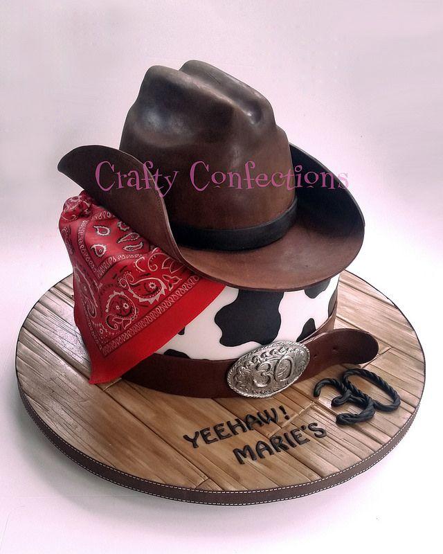 20141031_143309 wm cowboy hat western 30th cake   by Crafty Confections