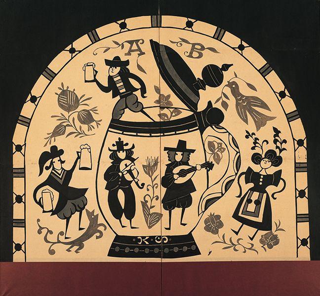 芹沢銈介《中世ヨーロッパ人物ビール乾杯図》1