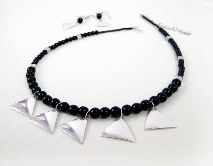 Jewelry set, black and silver  by MercysFancy on Etsy