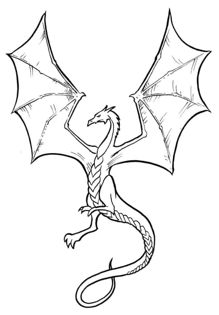 Fling Dragon Coloring Pages Printable Simple Dragon Drawing
