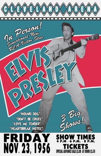 for jeff's grandma- for christmas to frame     Elvis Presley 1956 Cleveland Concert Poster. $15.00, via Etsy.