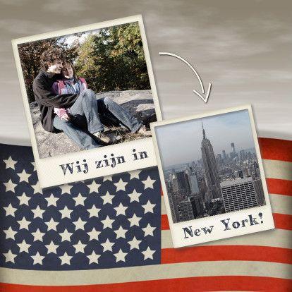 Wij zijn in Amerika of wij zijn in New York. Kaart met Amerikaanse vlag. Vervang de foto's voor eigen foto's en pas eventueel de tekst New York aan.