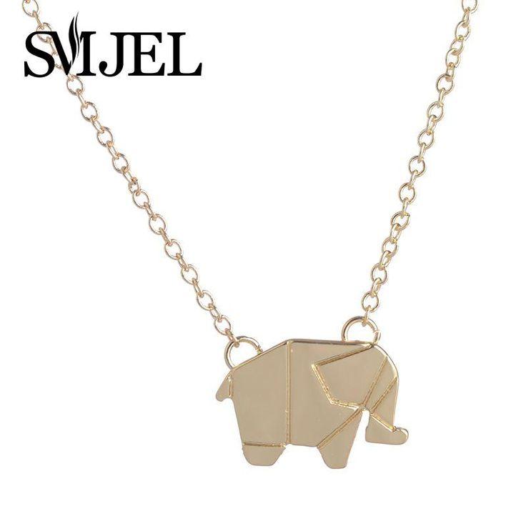 2016 Новая Мода Изысканные Оригами Слон GeometricAnimal Слон Ожерелье Лесной Слон Животных Ювелирных Изделий N192