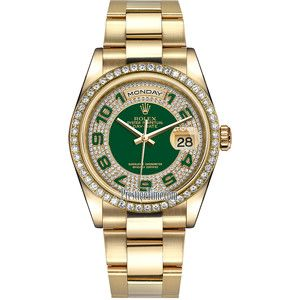 Rolex Day-Date 36mm Yellow Gold Diamond Bezel 118348 Green Pave Diamond Arabic Oyster Watch