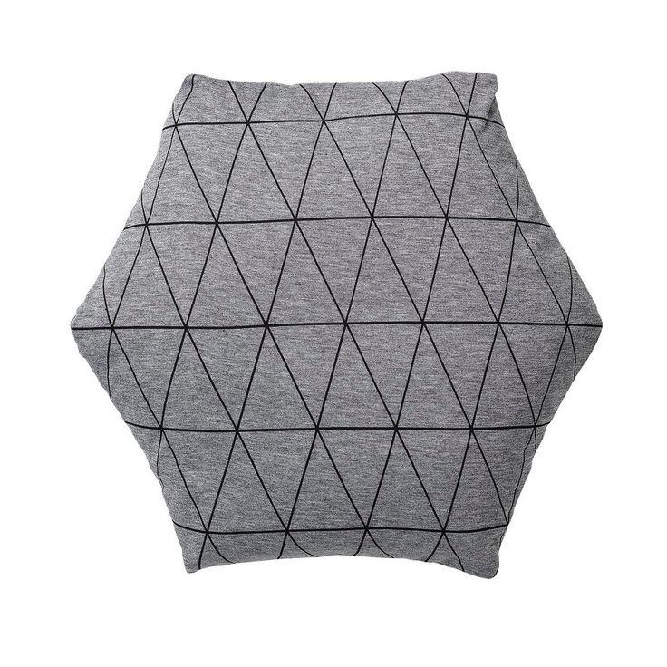 Bloomingville Kussen Diamant 45 x 45 cm - Zwart/Grijs