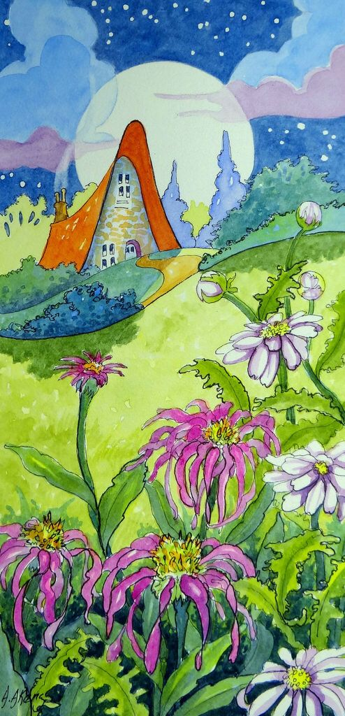 Storybook Cottage Series Summer Moon Dailypaintworks.com