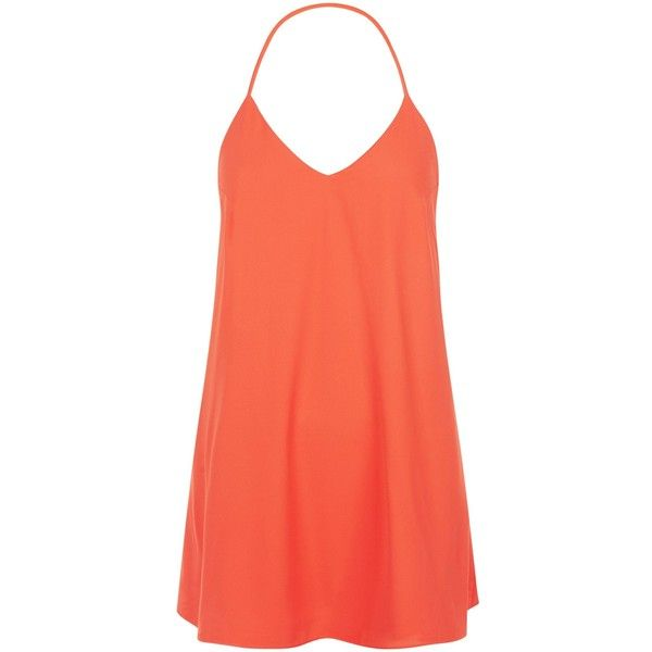 New Look Petite Bright Orange Strappy Slip Dress ($19) ❤ liked on Polyvore featuring dresses, spicy orange, red evening dresses, evening dresses, red orange dress, orange cocktail dress and petite evening dresses
