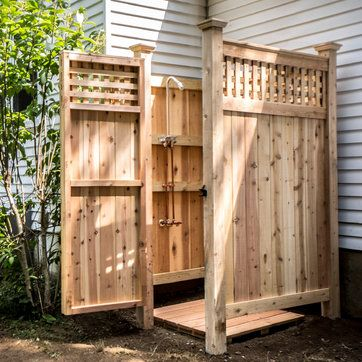 How to build an outdoor shower. This backyard project would be a great addition to a pool house or outdoor deck.