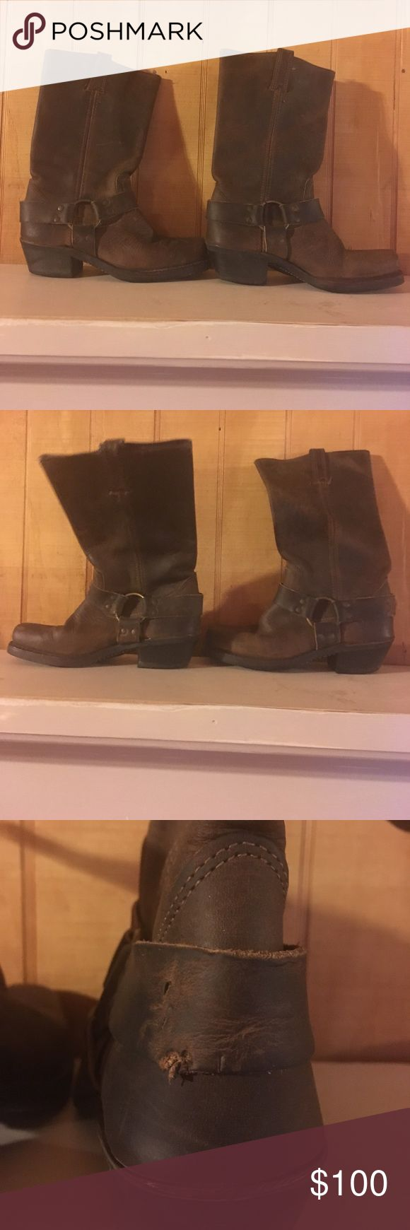 Frye boots Frye boots very comfy and soft leather have several imperfections please see photos. These still have lots of life left in them. I would keep them but they are not my size. Please don't hesitate to ask any questions. Frye Shoes Winter & Rain Boots