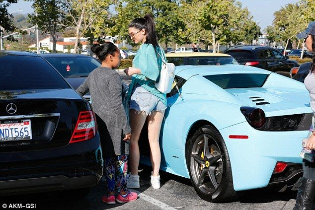 Do they come as a set? On Saturday Kylie Jenner was spotted out and about dressed in a turquoise top that seemed to flawlessly match the hue of her latest Ferrari