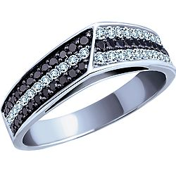 Add to your black and white look with this black and white diamond fashion ring set in 10k white gold.