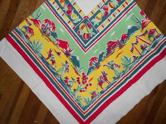 Vintage Mexican Tablecloth   More Like This: Vintage Tablecloths , Mexican  Theme And Tablecloths .