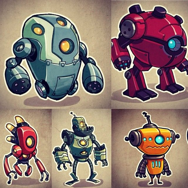 Robot collection #robots #photoshop #cintiq