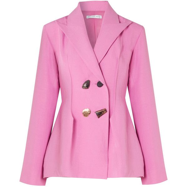 Rejina Pyo Nicole double-breasted woven blazer (9.886.295 IDR) ❤ liked on Polyvore featuring outerwear, jackets, blazers, pink jacket, woven jacket, double breasted blazer, double breasted jacket and pink blazer