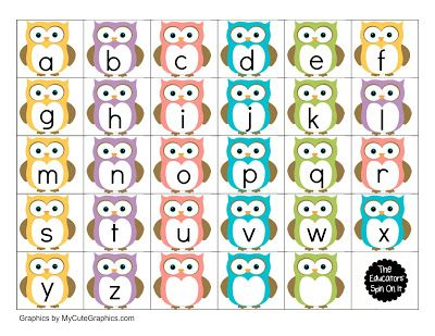 Owl-themed alphabet print-outs