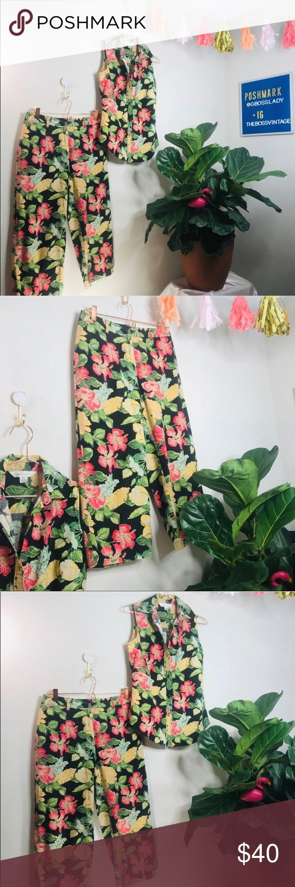 vsco floral Tropical Two Piece Button Up Capri Vtg Retro 80s Floral Tropical Funky Two Piece Button Up Capri • Tags say small but would fit a XS nic...