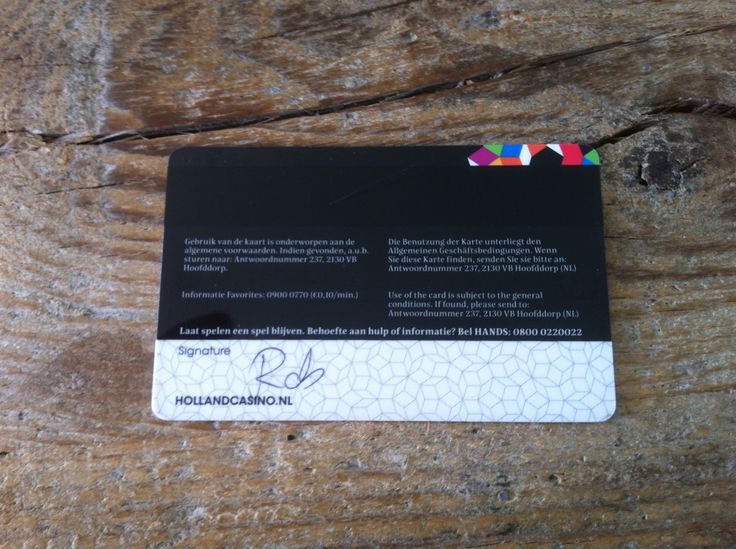 Holland Casino - Offline kaart personificatie VIP gevoel, Exclusief voor > Naam > handtekening