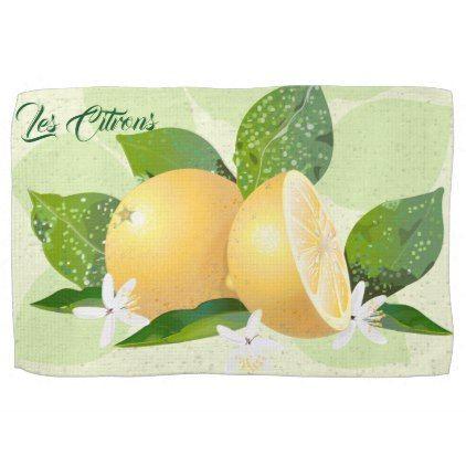 Lemons Citrus Fruit Botanical Kitchen Towel - flowers floral flower design unique style