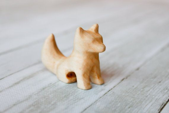 Wooden Fox Toy Waldorf Toy Fox Forest Animal by SticksAndGnomes