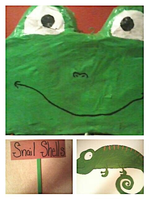 Little boy DIY birthday party. Frog pinata, pin the tongue on the lizard(tongue not shown) food signs-popsicle stick abd construction paper