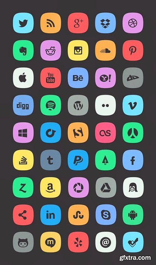 Social Media Icons Styles Psd