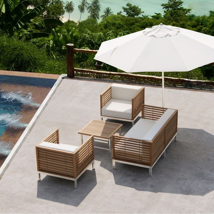 Attractive Salon De Jardin En Teck #6: Salon De Jardin Malé, Teck Et Inox, Coussins Blancs