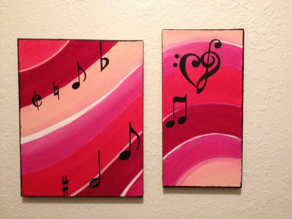 Acrylic Music note painting by ShmangiePaints on Etsy, $35.00