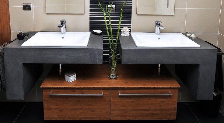 Meuble salle de bain béton ciré double vasque, avec tiroir en bambou verni…
