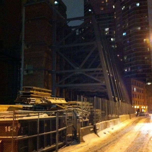 Side street off Yonge Street on a snowy night....
