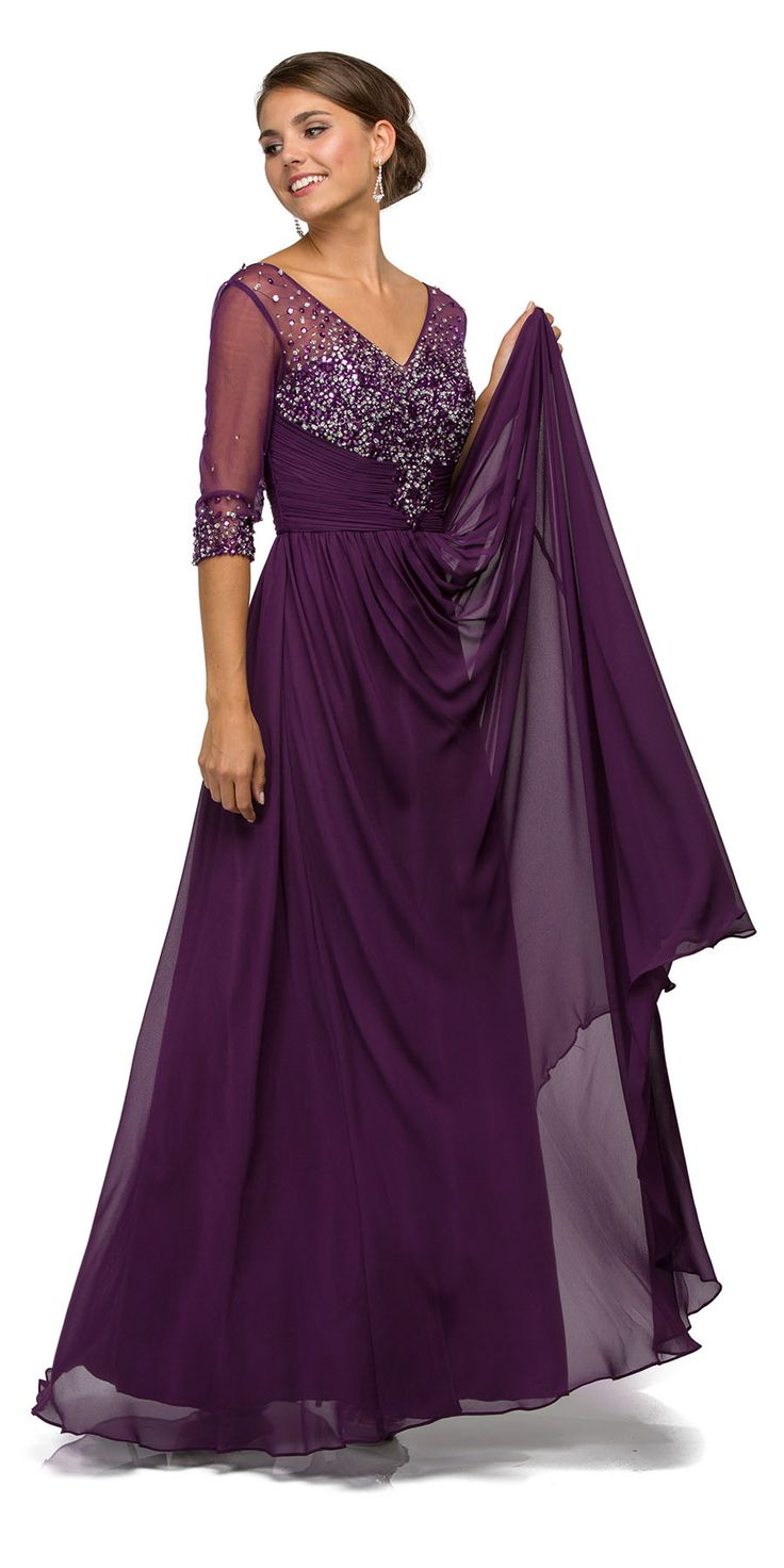 V Neck A Line Plum Formal Gown #discountdressshop #plum #formal #gown #weddings #motherofbride