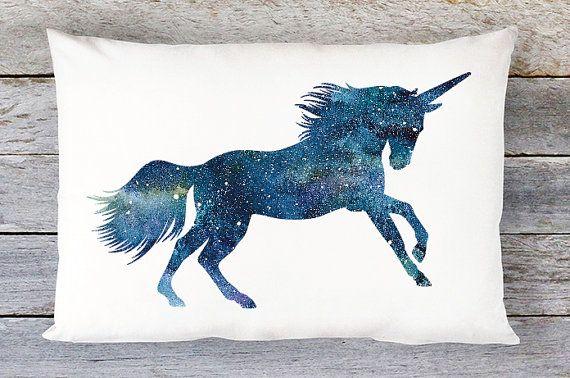 Unicorn Pillow Cover  Unicorn Throw Pillow  20x14 by AldariHome